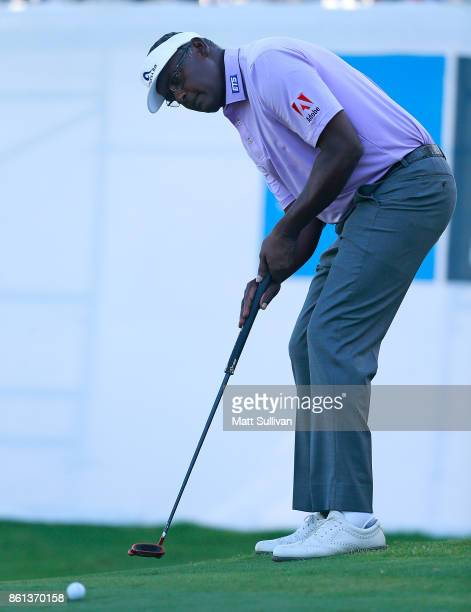 Vijay Singh of the Fiji Islands putts for eagle on the 17th hole during the second round of the SAS Championship at Prestonwood Country Club on...