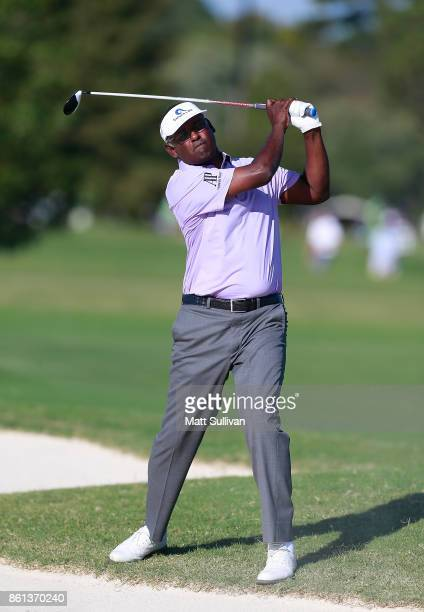 Vijay Singh of the Fiji Islands watches his second shot on the 17th hole during the second round of the SAS Championship at Prestonwood Country Club...
