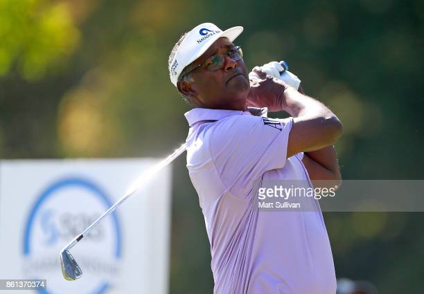Vijay Singh of the Fiji Islands watches his tee shot on the 11th hole during the second round of the SAS Championship at Prestonwood Country Club on...