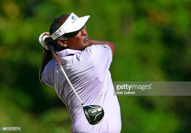 Vijay Singh of the Fiji Islands watches his tee shot on the 16th hole during the second round of the SAS Championship at Prestonwood Country Club on...