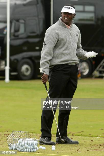 Vijay Singh on the driving range during a practice session at the Royal Birkdale Golf Club Southport