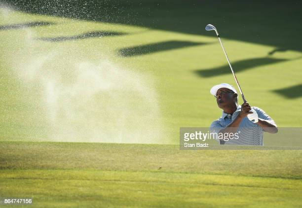 Vijay Singh plays a bunker shot on the 18th hole during the second round of the PGA TOUR Champions Dominion Energy Charity Classic at The Country...