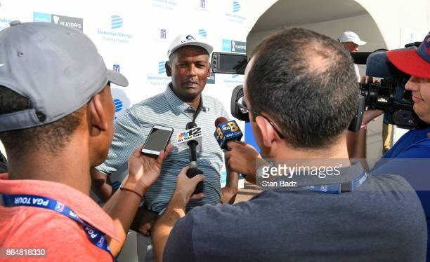 Vijay Singh speaks with reporters after the second round of the PGA TOUR Champions Dominion Energy Charity Classic at The Country Club of Virginia on...