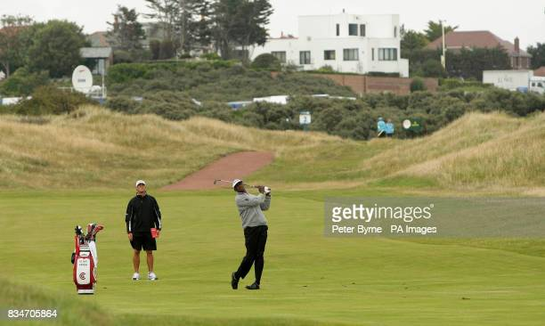 Vijay Singh tees off on the second hole during a practice session at the Royal Birkdale Golf Club Southport
