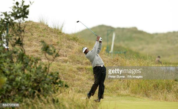 Vijay Singh tees off on the third hole during a practice session at the Royal Birkdale Golf Club Southport