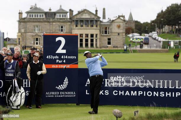 Vijay Singh tees off watched by Jose Maria Olazabel during their second round of the Alfred Dunhill Links Championship at St Andrew's Fife