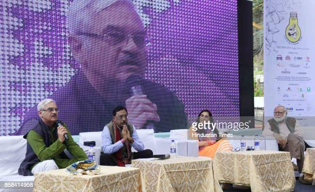 Vijay Tankha Pavan Verna Neelima Dalmia during the inaugural session of the 'Khuswant Singh Literary Festival2017' on October 6 2017 in Kasauli India