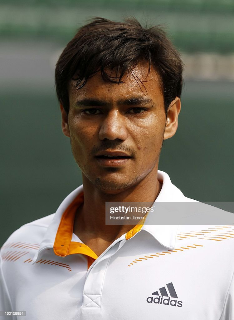 Vijayant Malik member of India Davis cup team during practice session at Delhi Lawn Tennis Association on January 27, 2013 in New Delhi, India.