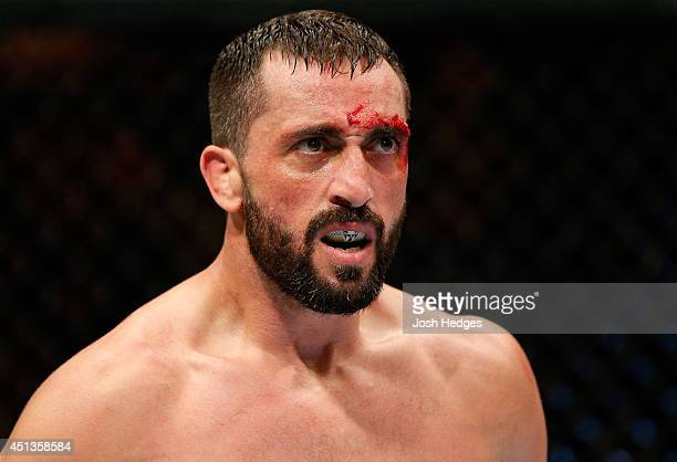 Vik Grujic reacts after his TKO victory over Chris Indich in their welterweight fight during the UFC Fight Night event at Vector Arena on June 28...