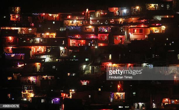 Vikhroli chawls glittering on the occasion of Diwali the festival of Lights on November 11 2015 in Mumbai India Diwali is an ancient Hindu festival...