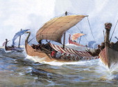Viking boat in transit towards Normandy watercolour 19th century