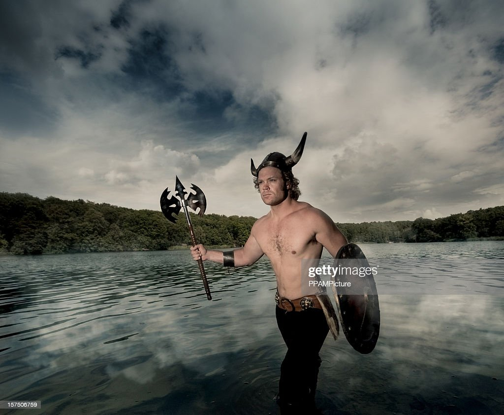 Viking coming out of the water