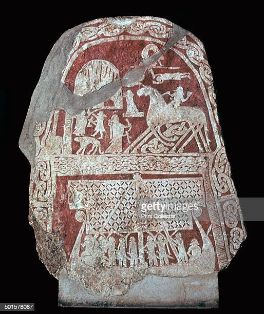 Viking runestone with a ship and depiction of Sleipnir the eightlegged horse of Odin whose mother was Loki Found in Tjangivde Alskog Gotland Sweden...