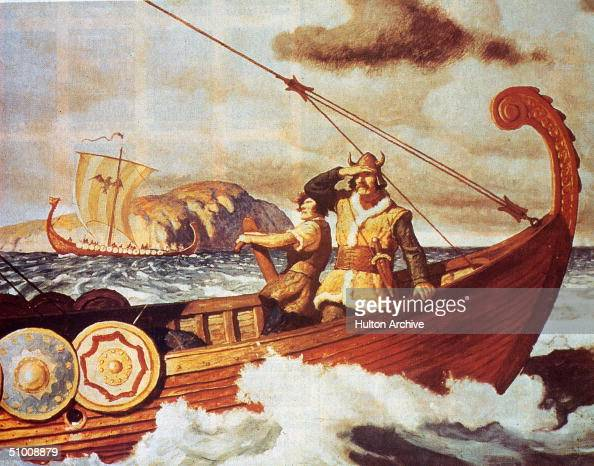 Viking sailors make the long voyage across the Atlantic between Europe and America in order to bring back timber circa 1350 The Vikings are thought...