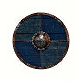 illustration of an old rusty Viking shield on a white background