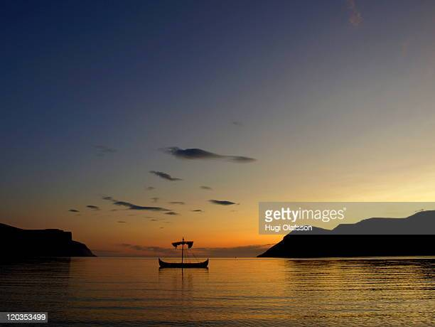 Viking ship in midnight sun