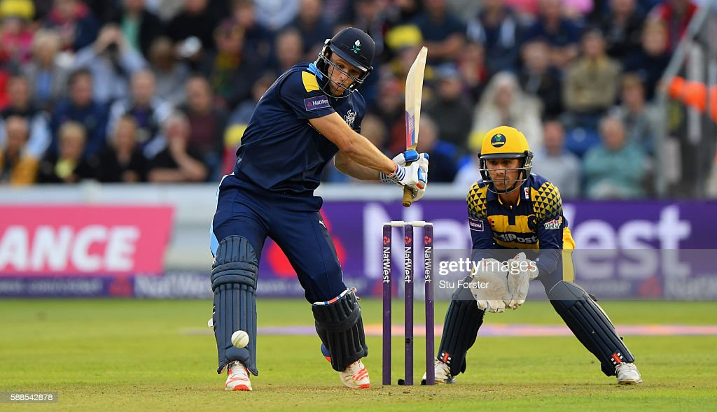 Vikings batsman David Willey hits out watched by Mark Wallace during the quarter final of the NatWest T20 Blast between Glamorgan and Yorkshire...