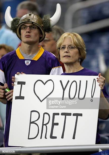 Vikings fan holds a sign for Brett Favre of the Minnesota Vikings before the game with the Detroit Lions at Ford Field on September 20 2009 in...