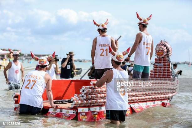 'Vikings' Liam Vernon Toby Baxter Richard Steele and Elliot Gibson during the Darwin Beer Can Regatta at Mindil Beach on July 9 2017 in Darwin...