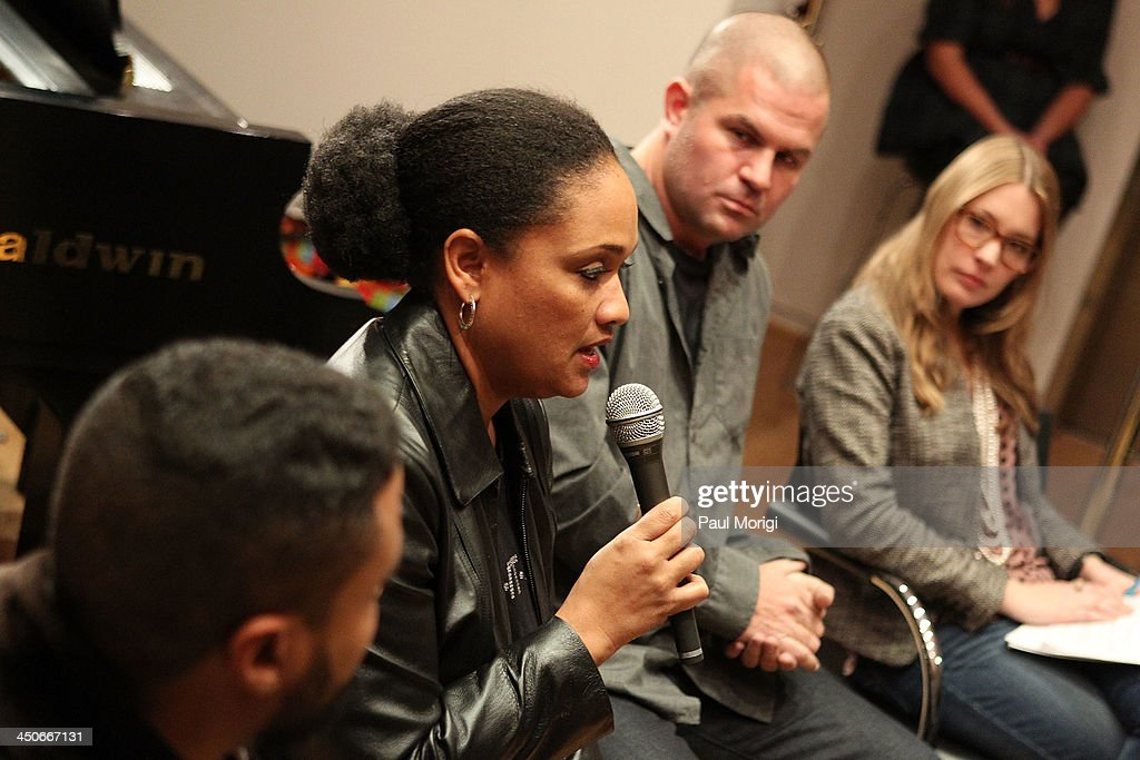 Vikki Johnson of BET participates in a panel of brand representatives and artists to discuss the growing affiliations between bands and brands at Business, Beats and Inspiration: Bands & Brands at The Gibson Guitar Center on November 19, 2013 in Washington, DC.