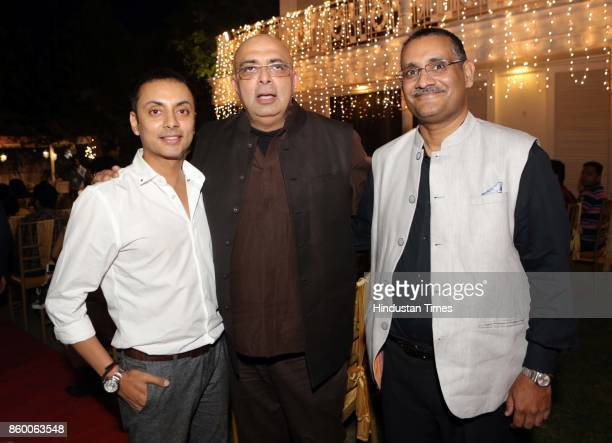 Vikram Baidyanath and designer Traun Tahiliani during the launch of the nonfiction book Borderline by author Shabri Prasad Singh at the Lawns of...