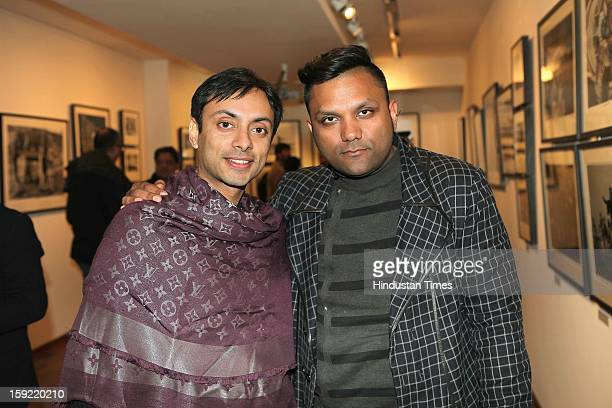 Vikram Baidyanath with Gaurav Gupta during the Photo exhibition titled Nemai Ghosh Satyajit Ray and Beyond at Delhi Art Gallery Hauz Khas Village on...