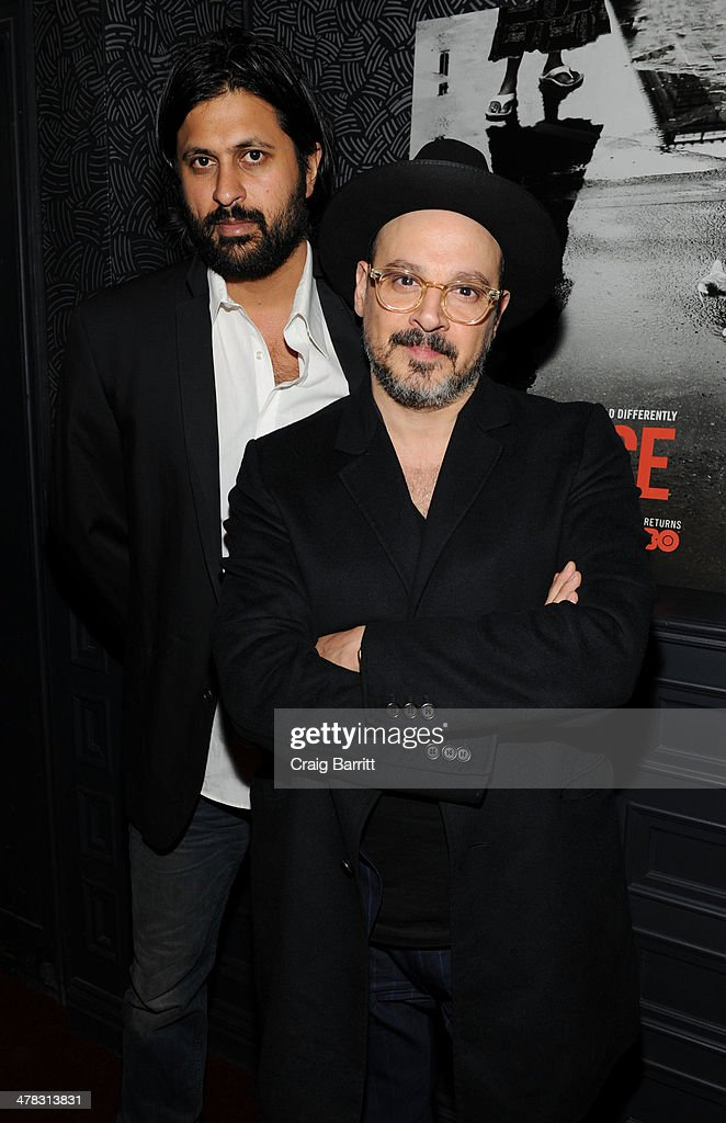 Vikram Gandhi and Eddy Moretti attend the 'Vice' season two premiere at SVA Theater on March 12 2014 in New York City