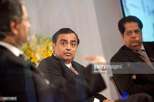 Vikram Pandit chief executive officer of Citigroup Inc from left speaks while Mukesh D Ambani chairman of Reliance Industries Ltd and KV Kamath...