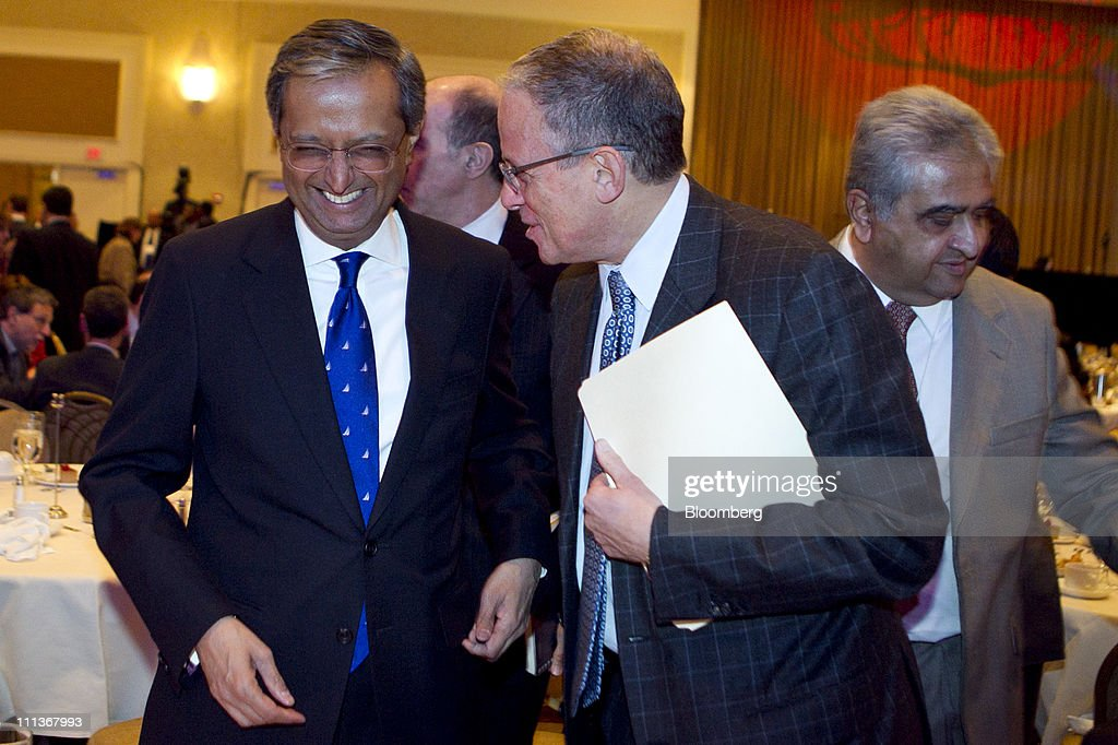 <a gi-track='captionPersonalityLinkClicked' href=/galleries/search?phrase=Vikram+Pandit&family=editorial&specificpeople=5610048 ng-click='$event.stopPropagation()'>Vikram Pandit</a>, chief executive officer of Citigroup Inc., left, laughs with Fred Hochberg, chairman and president of the Export-Import Bank of the United States, after speaking at the bank's annual meeting in Washington, D.C., U.S., on Friday, April 1, 2011. Pandit said the U.S. must reduce its trade deficit by stimulating consumption for American goods in developing nations. Photographer: Andrew Harrer/Bloomberg via Getty Images