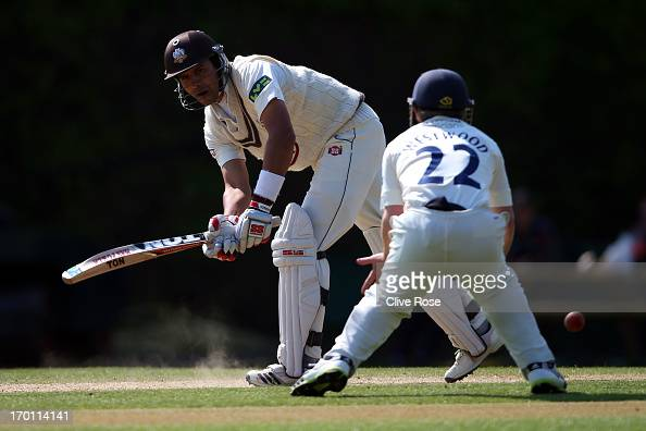 Vikram Solanki of Surrey in action during day three of the LV County Championship Division One match between Surrey and Warwickshire at Guildford...