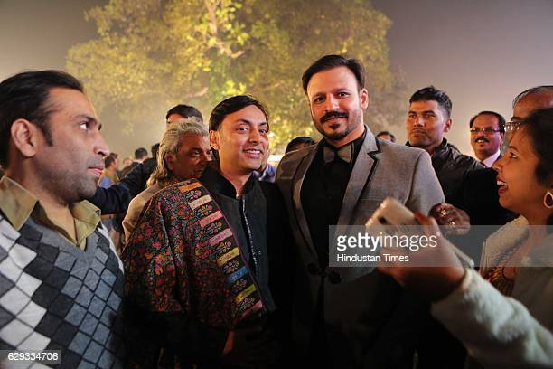 Vikrum Baidyanath with Bollywood actor Vivek Oberoi at the wedding reception of Union Minister Nitin Gadkari's daughter Ketki and Aditya Kaskhedikar...