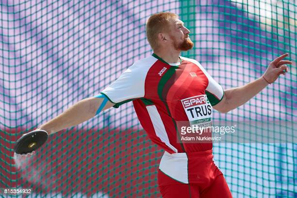 Viktar Trus from Belarus competes in men's discus throw final during Day 4 of European Athletics U23 Championships 2017 at Zawisza Stadium on July 16...