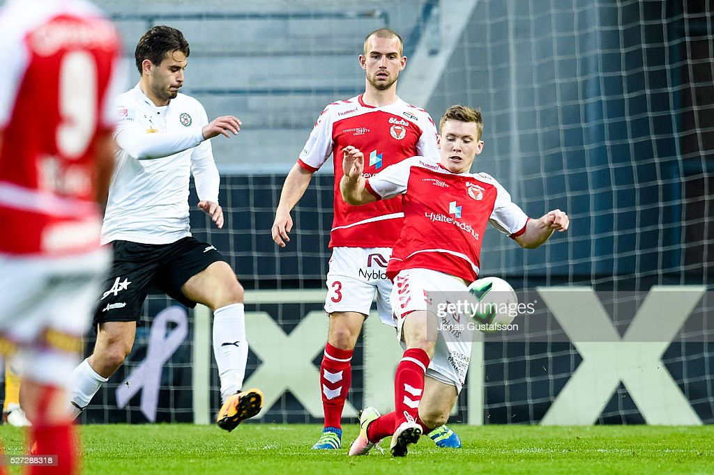 Viktor Agardius of Kalmar FF competes for the ball during the Allsvenskan match between Kalmar FF and Orebro SK at Guldfageln Arena on May 2, 2016 in Kalmar, Sweden.