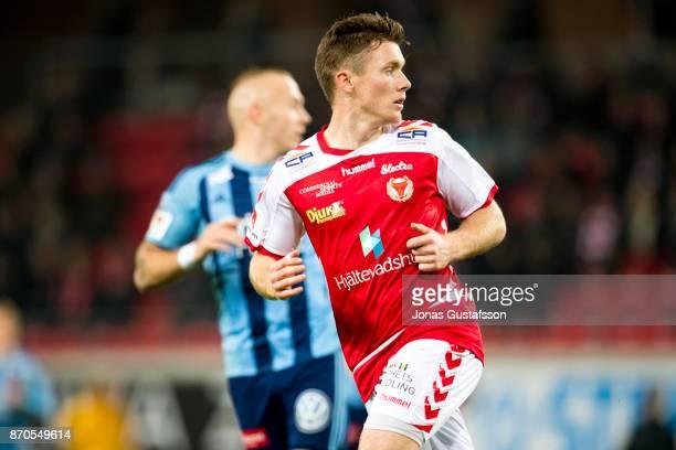 Viktor Agardius of Kalmar FF during the allsvenskan match between Kalmar FF and Djurgarden IF at Guldfageln Arena on November 5 2017 in Kalmar Sweden