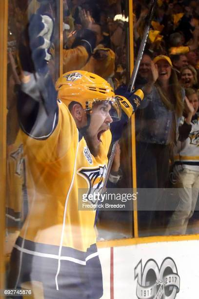 Viktor Arvidsson of the Nashville Predators celebrates after scoring a goal on Matt Murray of the Pittsburgh Penguins during the second period in...