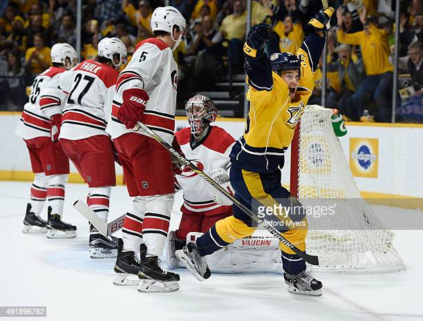 Viktor Arvidsson of the Nashville Predators reacts after scoring his first NHL goal against Carolina Hurricanes during the first period at...