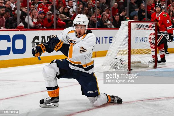 Viktor Arvidsson of the Nashville Predators reacts after scoring in the first period against the Chicago Blackhawks in Game One of the Western...