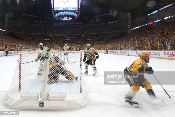 Viktor Arvidsson of the Nashville Predators scores a goal against Matt Murray of the Pittsburgh Penguins during the second period in Game Four of the...