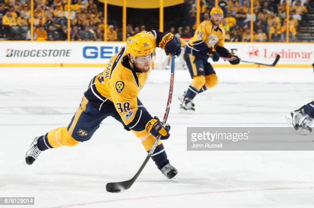 Viktor Arvidsson of the Nashville Predators shoots the puck against the St Louis Blues in Game Three of the Western Conference Second Round during...