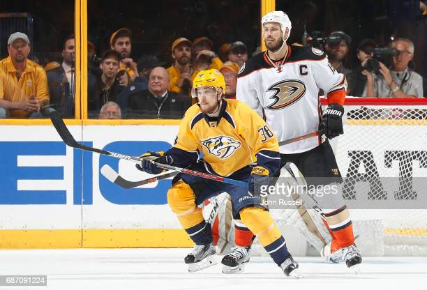 Viktor Arvidsson of the Nashville Predators skates against Ryan Getzlaf of the Anaheim Ducks in Game Three of the Western Conference Final during the...