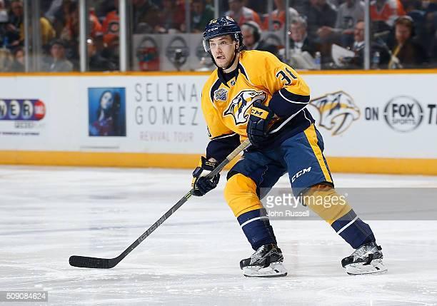 Viktor Arvidsson of the Nashville Predators skates against the Philadelphia Flyers during an NHL game at Bridgestone Arena on February 4 2016 in...