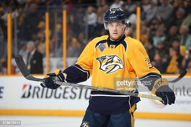 Viktor Arvidsson of the Nashville Predators skates against the Colorado Avalanche during an NHL game at Bridgestone Arena on March 28 2016 in...