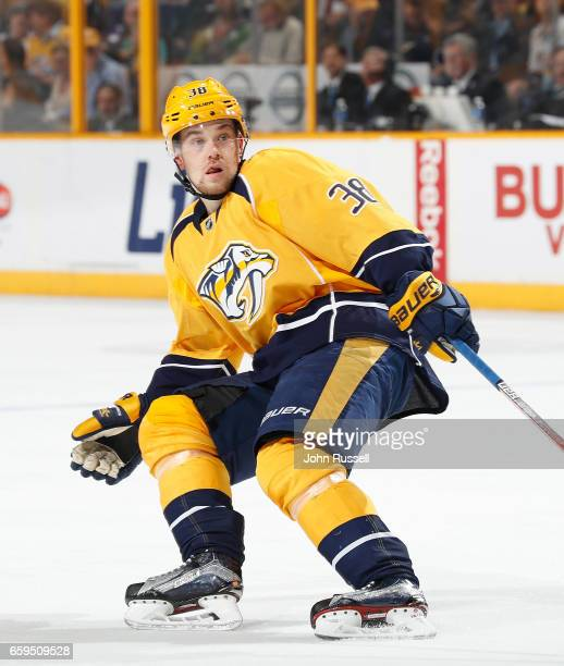 Viktor Arvidsson of the Nashville Predators skates against the San Jose Sharks during an NHL game at Bridgestone Arena on March 25 2017 in Nashville...