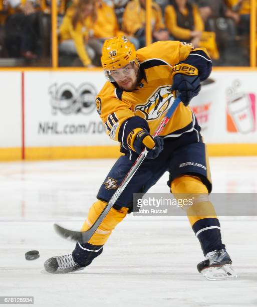 Viktor Arvidsson of the Nashville Predators skates against the St Louis Blues in Game Three of the Western Conference Second Round during the 2017...