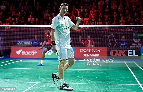 Viktor Axelsen of Denmark celebrates after his match on Day Two at the MetLife BWF World Superseries Premier Yonex Denmark Open Badminton at Odense...