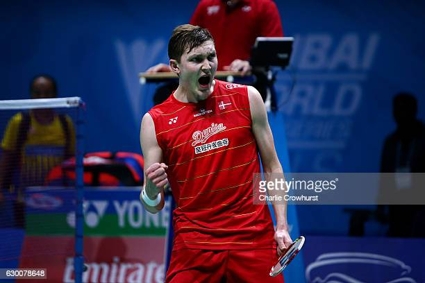 Viktor Axelsen of Denmark celebrates his win over Lee Chong Wei of Malaysia on Day Three of the BWF Dubai World Superseries Finals on December 16...