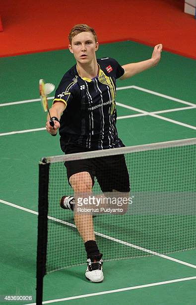 Viktor Axelsen of Denmark competes against Adrian Dziolko of Poland in the 2015 Total BWF World Championship at Istora Senayan on August 12 2015 in...