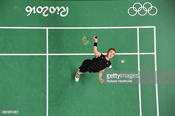 Viktor Axelsen of Denmark competes against Long Chen of China during the Men's Singles Badminton Semifinal on Day 14 of the Rio 2016 Olympic Games at...