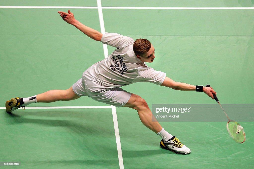Viktor Axelsen of Denmark during Men's singles match at the 2016 Badminton European Championships on April 28, 2016 in Mouilleron-le-Captif, France.