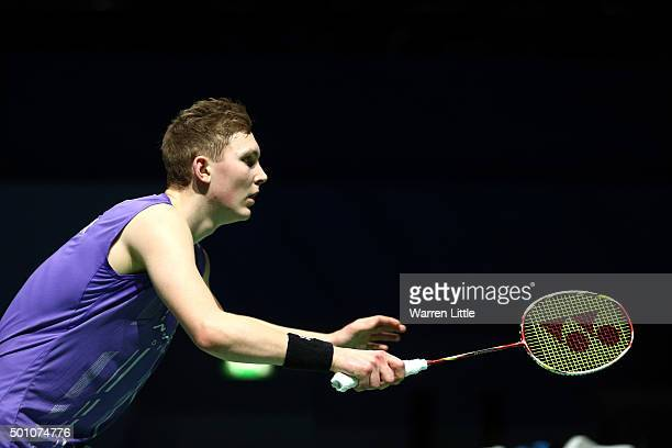 Viktor Axelsen of Denmark in action against Chen Long of China in the Men's semi final match during day four of the BWF Dubai World Superseries 2015...